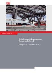 Beförderungsbedingungen der Deutschen Bahn AG Gültig ab 13 Dezember 2015