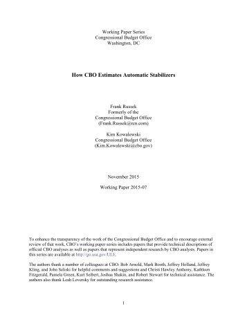 How CBO Estimates Automatic Stabilizers