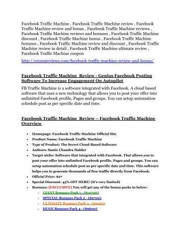 Facebook Traffic Machine review - Facebook Traffic Machine (MEGA) $23,800 bonuses