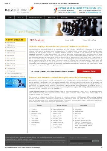 CEO Email Addresses _ CEO Mailing List Database _ C-Level Executives