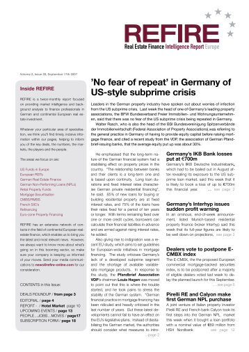 'No fear of repeat' in Germany of US-style subprime crisis