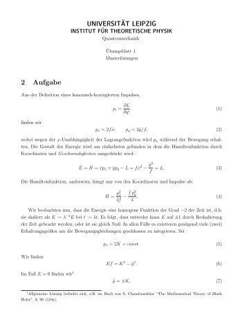 UNIVERSIT¨AT LEIPZIG 2 Aufgabe - Institut für Theoretische Physik