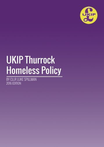 UKIP Thurrock Homeless Policy