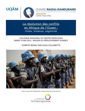 La résolution des conflits en Afrique de l'Ouest