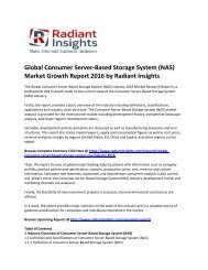 Global Consumer Server-Based Storage System (NAS) Market Share, Size, Growth and Forecast 2016: Radiant Insights