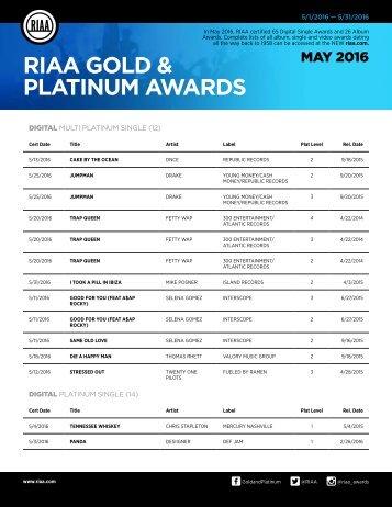 RIAA GOLD & PLATINUM AWARDS