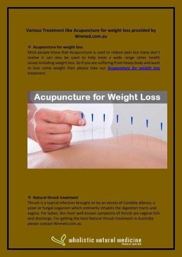 Various Treatment like Acupuncture for weight loss provided by Wnmed