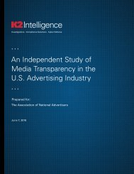An Independent Study of Media Transparency in the U.S Advertising Industry