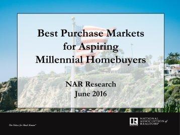 Best Purchase Markets for Aspiring Millennial Homebuyers