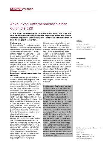 Aktuelles Stichwort: Ankauf von Unternehmensanleihen durch die EZB