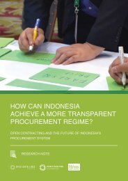 HOW CAN INDONESIA ACHIEVE A MORE TRANSPARENT PROCUREMENT REGIME?