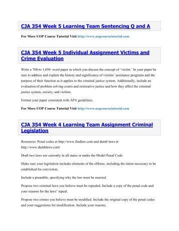 CJA 354 UOP Course Tutorial,CJA 354 UOP Tutorial,CJA 354 UOP Homework Help