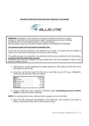 Instructions For Updating 5 5 Blueme Sw Version Ver 12 Fiat