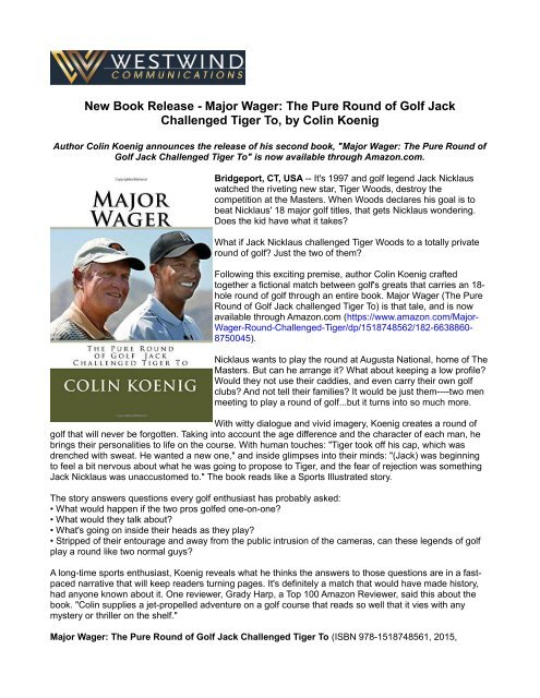 New Book Release - Major Wager: The Pure Round of Golf Jack