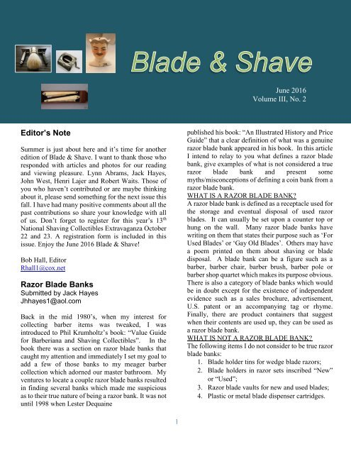 BLADE and SHAVE June 2016 by Bob Hall