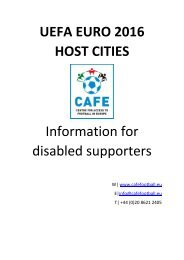 UEFA EURO 2016 HOST CITIES Information for disabled supporters