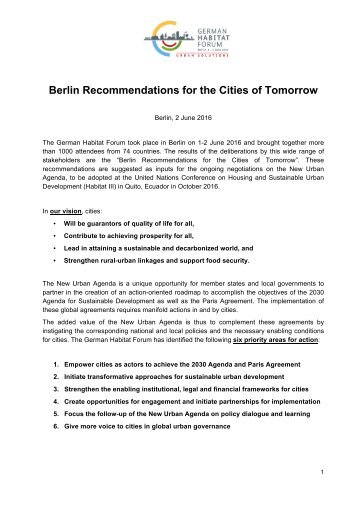 Berlin Recommendations for the Cities of Tomorrow