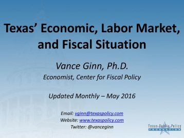 Texas' Economic Labor Market and Fiscal Situation