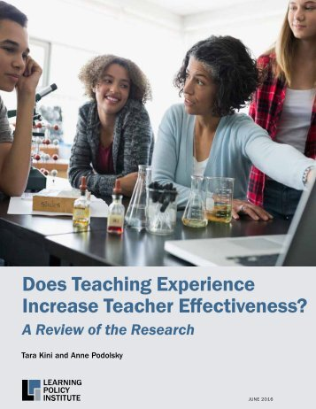 Does Teaching Experience Increase Teacher Effectiveness?