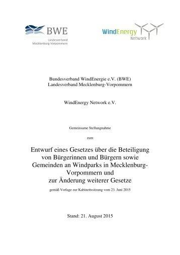 BWE Stellungnahme zum Bürgerbeteiligungsgesetz in Mecklenburg Vorpommern