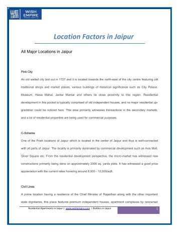Real Estate Insights of various Locations in Jaipur