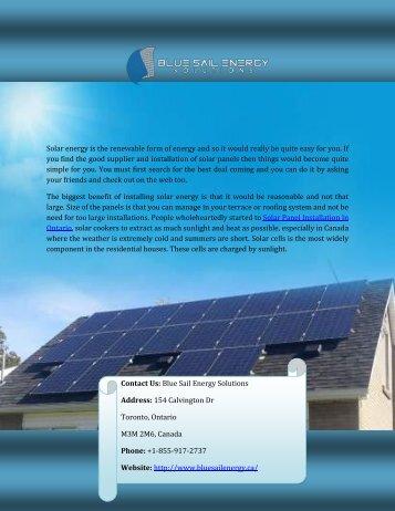 Installation Solar Panel In Ontario