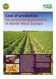 Cost of production for processing potatoes in North West Europe