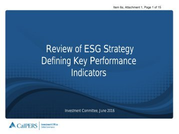 Review of ESG Strategy Defining Key Performance Indicators
