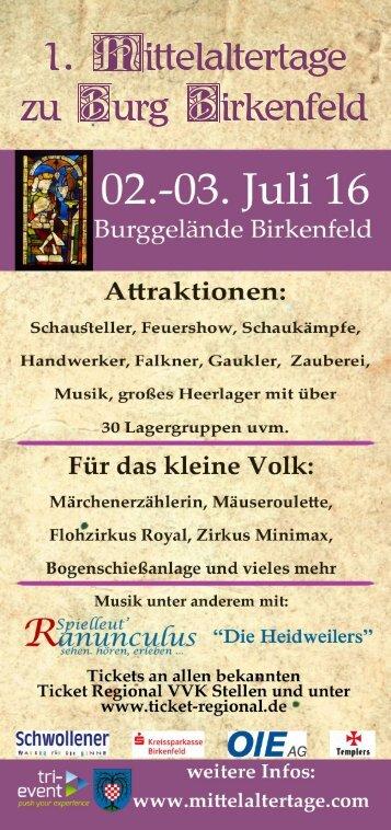 Mittelaltertage zu Burg Birkenfeld 2016
