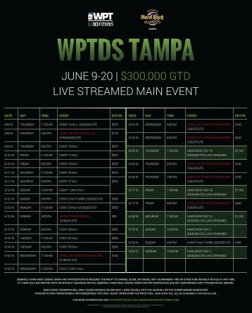 JUNE 9-20 | $300,000 GTD LIVE STREAMED MAIN EVENT