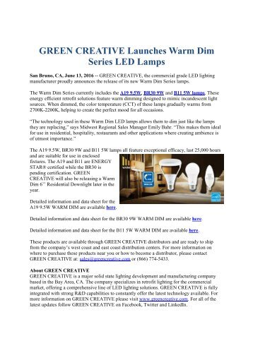 GREEN CREATIVE Launches Warm Dim Series LED Lamps
