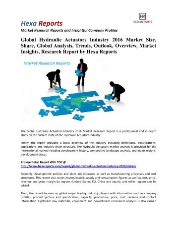 Global Hydraulic Actuators Market Share | 2016 Industry Research Report By Hexa Reports