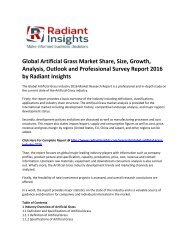Global Artificial Grass Market Size, Trends, Growth Report 2016 by Radiant Insights