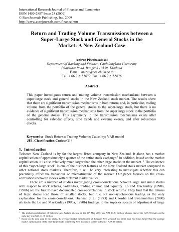 Return and Trading Volume Transmissions between ... - EuroJournals