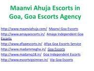 Maanvi Ahuja Escorts in Goa, Goa Escorts