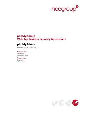 phpMyAdmin Web Application Security Assessment phpMyAdmin