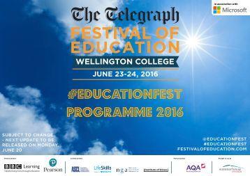 #educationfest programme 2016