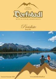 Hotel Dorfstadl - Sommerpreisliste 2016