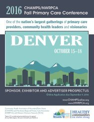 2016 Fall Primary Care Conference Prospectus for Sponsors, Exhibitors, and Advertisors