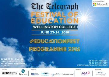 #educationfest programme 2016