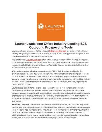LaunchLeads.com Offers Industry Leading B2B Outbound Prospecting Tools
