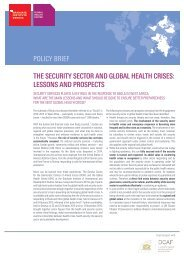 POLICY BRIEF THE SECURITY SECTOR AND GLOBAL HEALTH CRISES LESSONS AND PROSPECTS