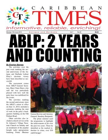 Caribbean Times 28th Issue - Monday 14th June 2016