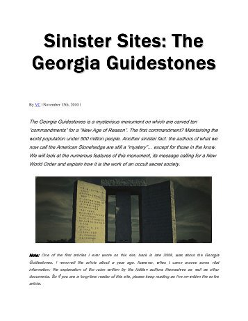 Sinister Sites The Georgia Guidestones