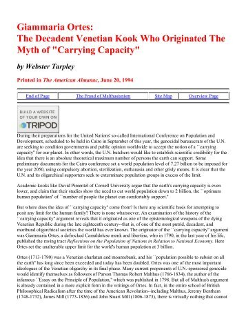 Giammaria Ortes - Earth's Carrying Capacity