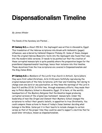 Dispensationalism Timeline