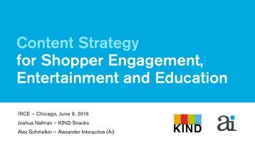 Content Strategy for Shopper Engagement Entertainment and Education