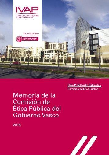 Memoria de la Comisión de Ética Pública del Gobierno Vasco