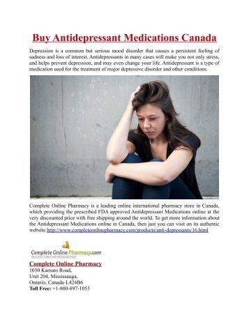 Buy Antidepressant Medications Online in Canada