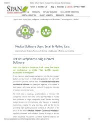 Get Highly Targeted List of Medical Software using Companies from Span Global Services